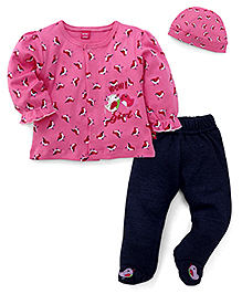 Wow Girl Full Sleeves Top Bootie Legging And Cap - Pink Navy