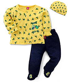 Wow Girl Full Sleeves Top Bootie Legging And Cap - Yellow Navy