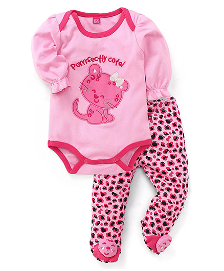 Wow Girl Full Sleeves Onesie and Bootie Leggings - Pink