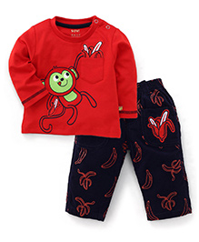 WOW Full Sleeves T-Shirt And Pants Monkey Print - Red Navy