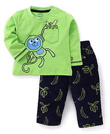 WOW Full Sleeves T-Shirt And Pants Monkey Print - Green Navy