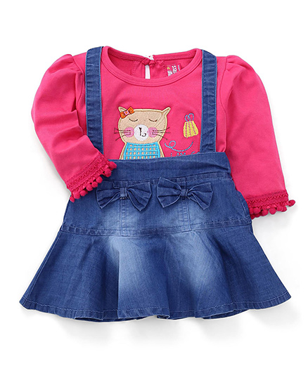Wow Girl Denim Frock With Inner Tee Kitty Patch - Blue and Pink