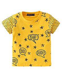 Smarty Half Sleeves T-Shirt With Star Print - Yellow