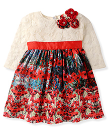 Yellow Duck Full Sleeves Party Wear Frock - Red Cream