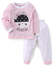 Ollypop Full Sleeves Top And Leggings Set Rockstar Print - Light Pink And White