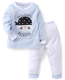 Ollypop Full Sleeves Top And Leggings Set Rockstar Print - Light Blue And White