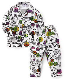 Ollypop Full Sleeves Cycle Print Night Suit - Off White