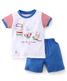 Ollypop Half Sleeves Printed T-Shirt And Shorts - White Blue