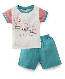 Ollypop Half Sleeves Printed T-Shirt And Shorts - Cream Green