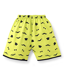Ollypop Shorts Hat And Moustache Print - Lime Green
