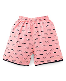 Ollypop Shorts Moustache Print - Coral