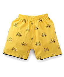 Ollypop Shorts Bicycle Print - Yellow
