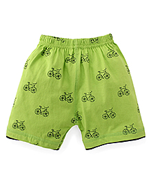 Ollypop Shorts Bicycle Print - Green