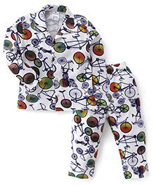 Ollypop Full Sleeves Cycle Print Night Suit - White Navy
