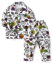 Ollypop Full Sleeves Cycle Print Night Suit - White Black