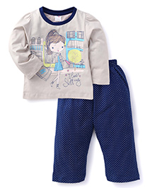 Paaple Full Sleeves Top And Dotted Pajama - Grey Blue