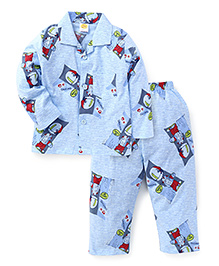 Little Full Sleeves Night Suit Dancing Print - Blue