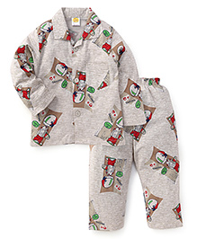 Little Full Sleeves Night Suit Dancing Print - Light Grey