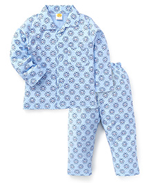 Little Full Sleeves Printed Night Suit - Blue