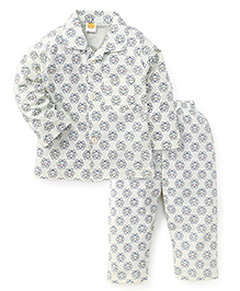 Little Full Sleeves Printed Night Suit - Off White