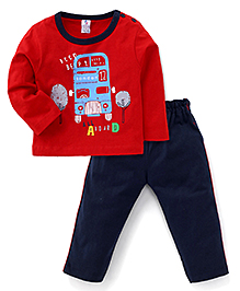 Paaple Full Sleeves Bus Design T-Shirt And Pants - Red Navy