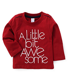 Paaple Full Sleeves T-Shirt Text Print - Dark Red