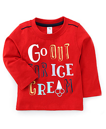 Paaple Full Sleeves T-Shirt Ice Cream Print - Red