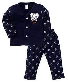 Paaple Full Sleeve Shirt And Pants With Jumbo Patch - Navy