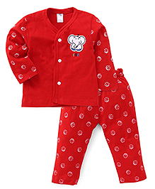 Paaple Full Sleeve Shirt And Pants With Jumbo Patch - Red