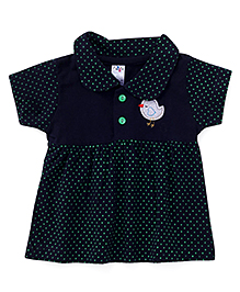 Paaple Short Sleeves Dotted Frock Bird Patch - Navy