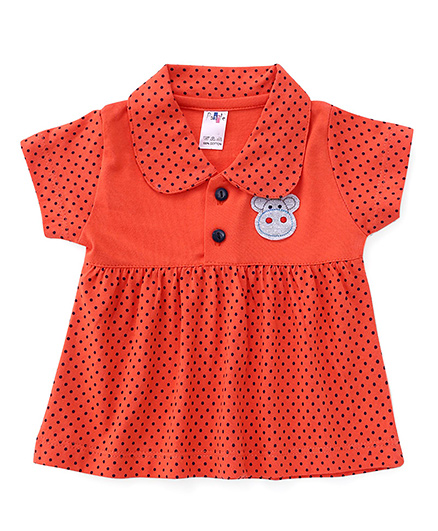 Paaple Short Sleeves Dotted Frock Bird Patch - Orange
