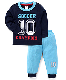 Paaple Full Sleeves Soccer Print T-Shirt And Track Pants - Navy Blue