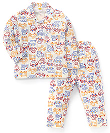 Little Full Sleeves Vehicles Print Night Suit - Cream