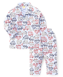 Little Full Sleeves Vehicles Print Night Suit - Light Blue