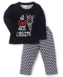 Paaple Full Sleeves Night Suit Ice Cream Print - Navy