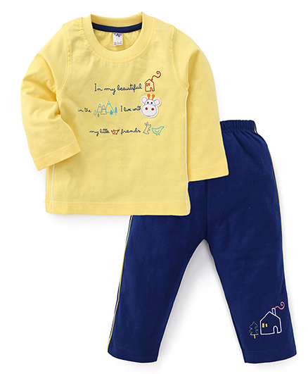Paaple Full Sleeves Printed T-Shirt And Pant - Yellow Blue