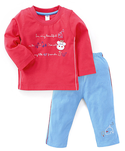 Paaple Full Sleeves Printed T-Shirt And Pant - Fuchsia Blue