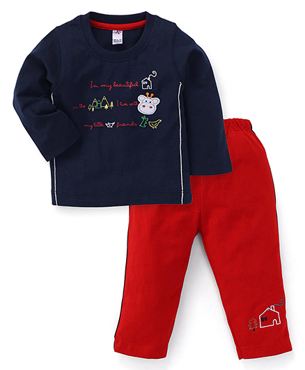 Paaple Full Sleeves Printed T-Shirt And Pant - Navy Red