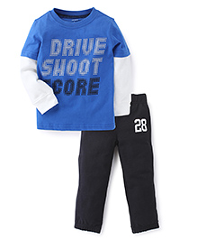 Carters Full Sleeves T-Shirt And Pant Set Drive Shoot Print - Blue And Black
