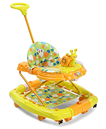 Musical Baby Walker With Snail Shape Toy - Orange Yellow