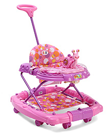 Musical Baby Walker With Snail Shape Toy - Purple Pink