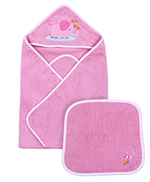 Owen Hooded Towel With Wash Cloth - Pink