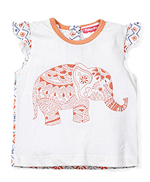 Fisher Price Apparel Elephant Print Cap Sleeve Top - Off White