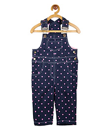 My Lil'Berry Heart Printed Dungaree - Blue