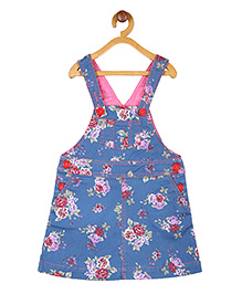 My Lil'Berry Rose Print Dungaree Skirt - Blue