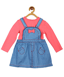 My Lil'Berry Pleated Frill Dungaree Skirt & Top - Blue & Pink
