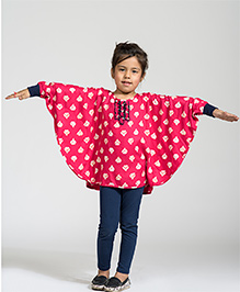 My Lil Berry Printed Poncho Top - Pink