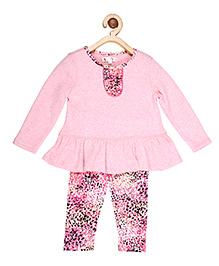 My Lil'Berry Peplum Top With Printed Legging - Pink