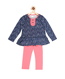 My Lil'Berry Peplum Top With Legging - Navy Blue & Pink