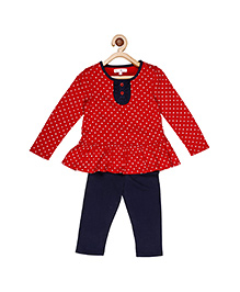 My Lil'Berry Peplum Top With Legging - Navy Blue & Red